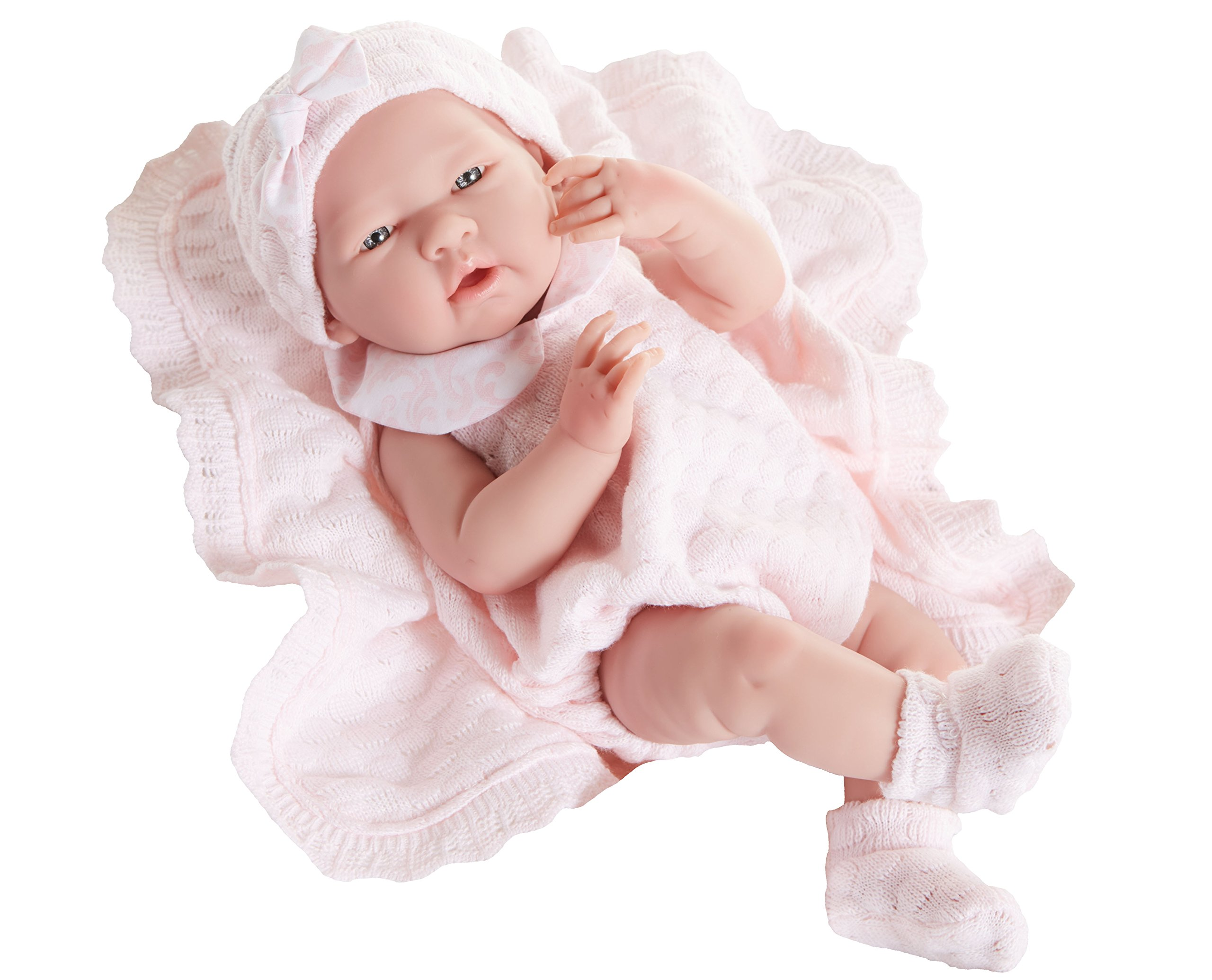 JC Toys La Newborn Pretty in Pink Knit Blanket Gift Set. Realistic 15'' Anatomically Correct Real Girl Baby Doll – All Vinyl Designed by Berenguer – Made in Spain