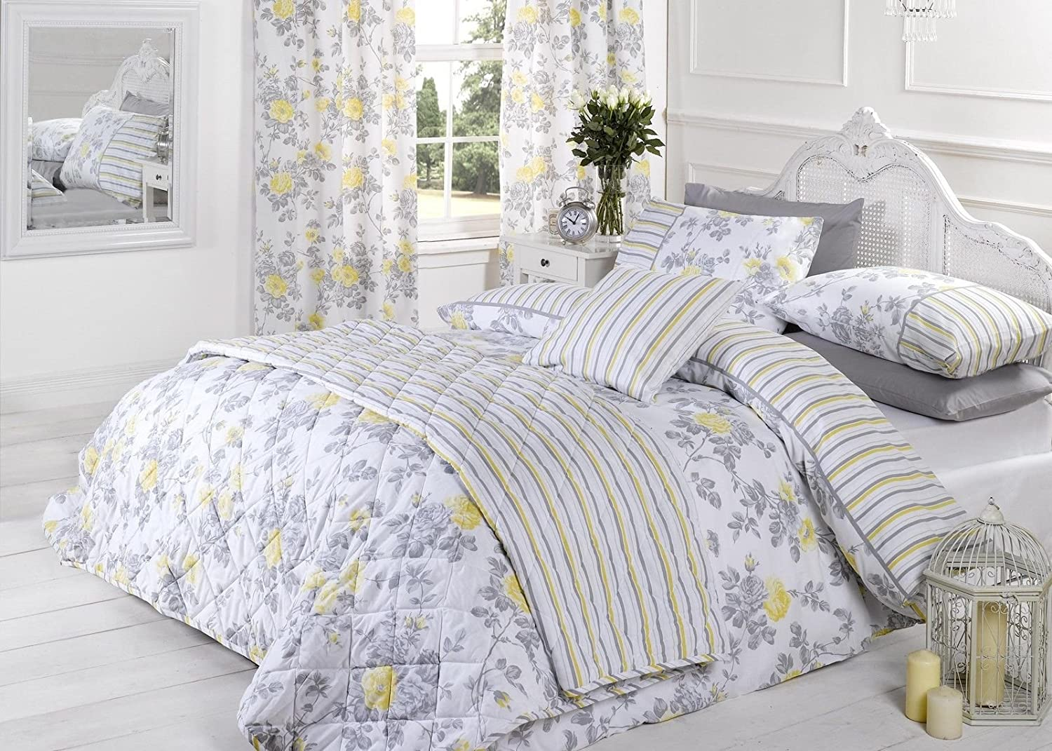 Lauren Rose Floral Flower Lemon Grey White 66 X72 Ready Made Lined Bedroom Curtains Amazon Co Uk Kitchen Home