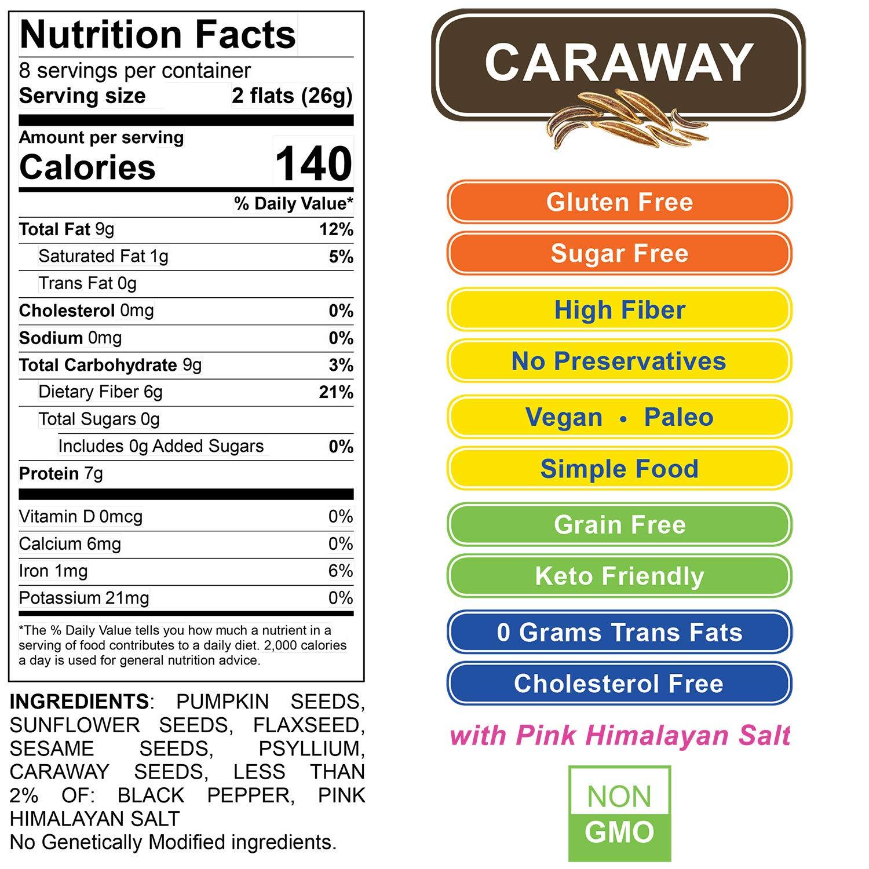 ELLA'S FLATS All Seed Savory Crisps - CARAWAY (6.5oz Resealable Bag) - 3 PACK - Gluten Free, Sugar Free, Grain Free, High Fiber, Low Carb, Vegan, Keto, Paleo by ELLA'S FLATS (Image #3)