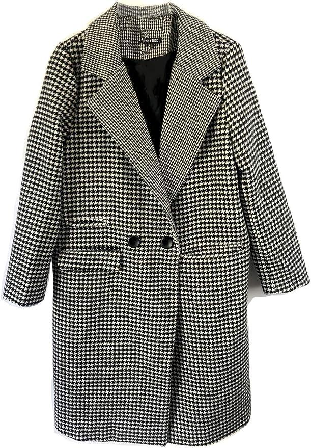 Women Check dog Hounds Tooth Tartan Duster Coat Ladies Jacket Blazer