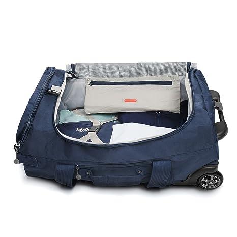 ECO Maleta Plegable con ruedas convertible a mochila hecha de material reciclado RPET (Azul Oscuro)