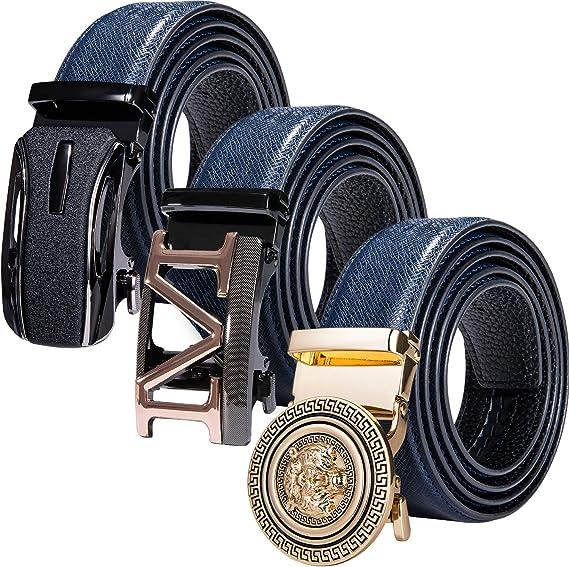 Image of Cinturón de piel Barry.Wang para hombre con 3 hebillas automáticas, de trinquete, con correa ajustable y caja de regalo, color negro