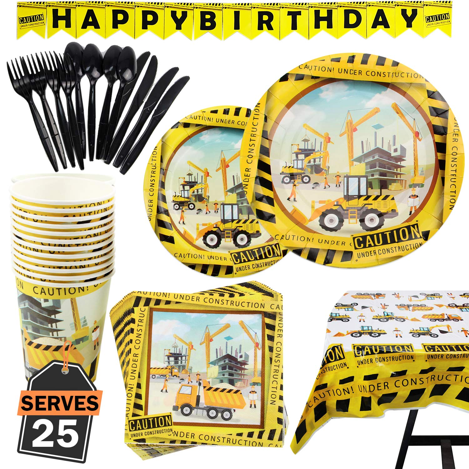 177 Piece Construction Party Supplies Set Including Plates, Cups, Napkins, Spoons, Forks, Knives, Tablecloth and Banner, Serves 25