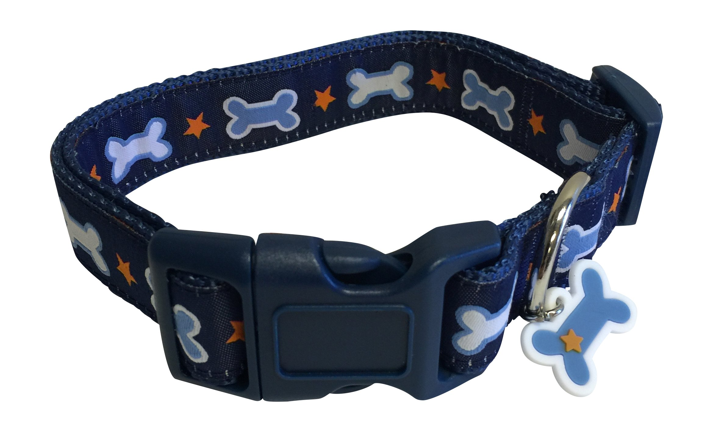 Top Paw Dog Collar Medium Neck Size 14'' - 18'' Dog Bone Charm Stars