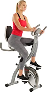 Sunny Health & Fitness Comfort XL Ultra Cushioned Seat Folding Exercise Bike