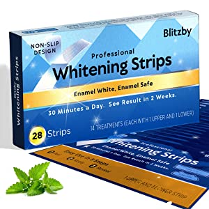 Blitzby Teeth Whitening Strips - 30 Minutes Express - Professional Effects - Gentle on Enamel - Results in Just 2 Weeks - Remove Stains from Coffee, Tea, Smoking, Aging, Wine. 28 Strips