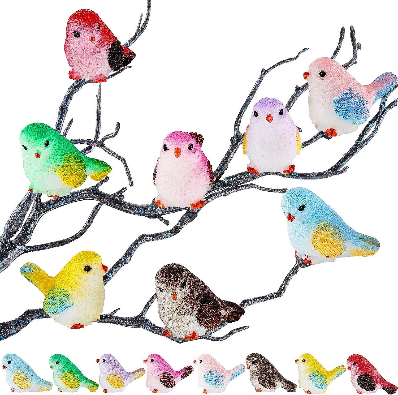 16 Pieces Miniature Bird Figurines Bird Decorative Figurines Dollhouse Simulation Bird Figures Toy Mini Bird Figures Cute Animal Model for Fairy Garden, Miniatures Moss Decoration, Micro Landscape