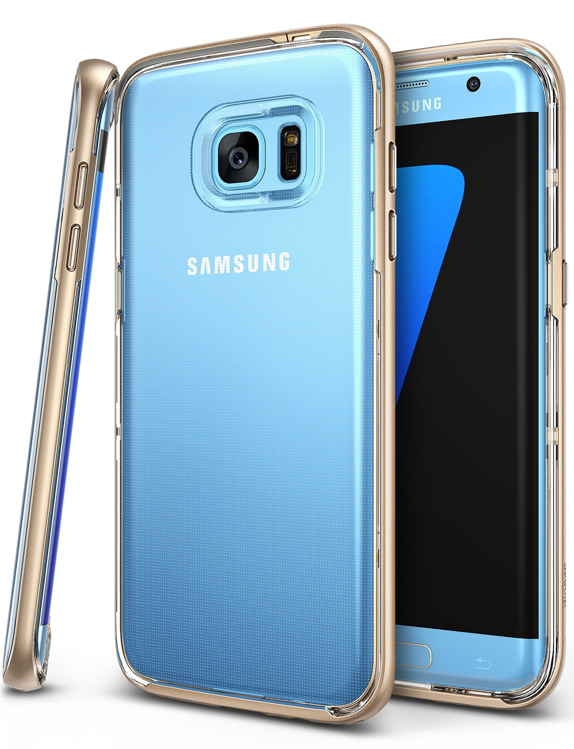 Galaxy S7 Edge Case, Ringke [Frame] Ultimate DualLayer Reinforced Bumper [Royal Gold] Naturally Contour Streamlined Fit Shell Patented Specialized Interlocking Clasp Advanced Structure Defensive Cover