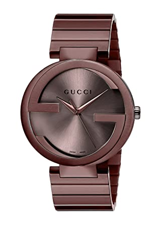 54af4a205d7 Gucci Women s Interlocking YA133211 Brown Stainless-Steel Swiss Quartz  Fashion Watch  Gucci  Amazon.co.uk  Watches