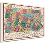 Historix Vintage 1829 Pennsylvania State Map - 24x36 Inch Vintage Map Pennsylvania Wall Art - Map of Pennsylvania State - PA