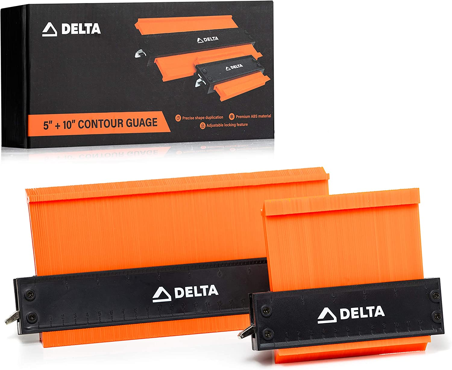 Delta Contour Gauge with Adjustable Lock: 5 and 10 Inch Contour Gauge and Profile Duplicator Set - Home Improvement Tools - Shape Duplication and Scribe Tool for DIY, Woodworking, and More - 2 Pack