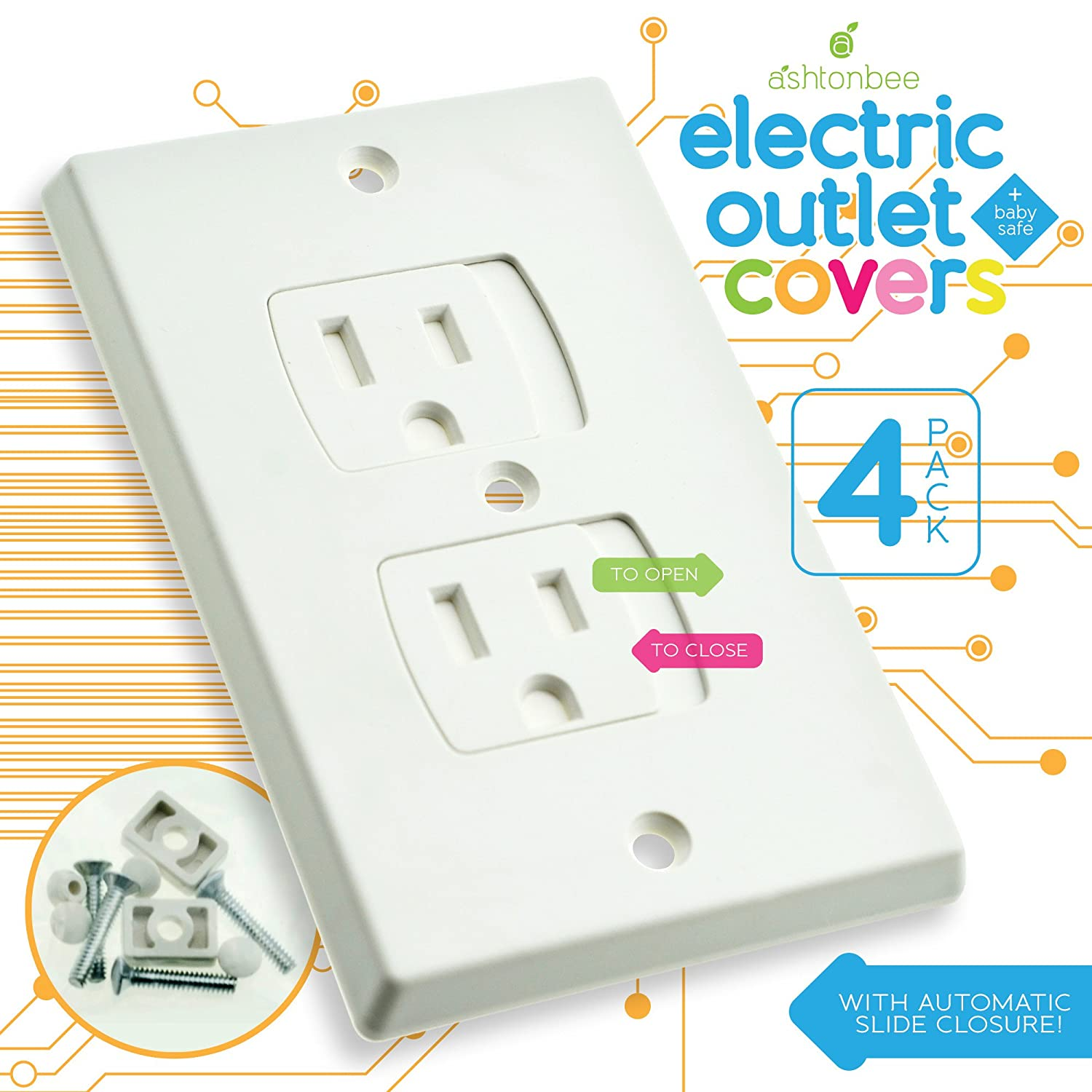 Child Safety Electrical Outlet Covers for Baby Proofing - Best Childproofing Self Closing BPA Free Wall Socket Plate, Better than Plugs (Set of 2, White) Ashtonbee ASH160628