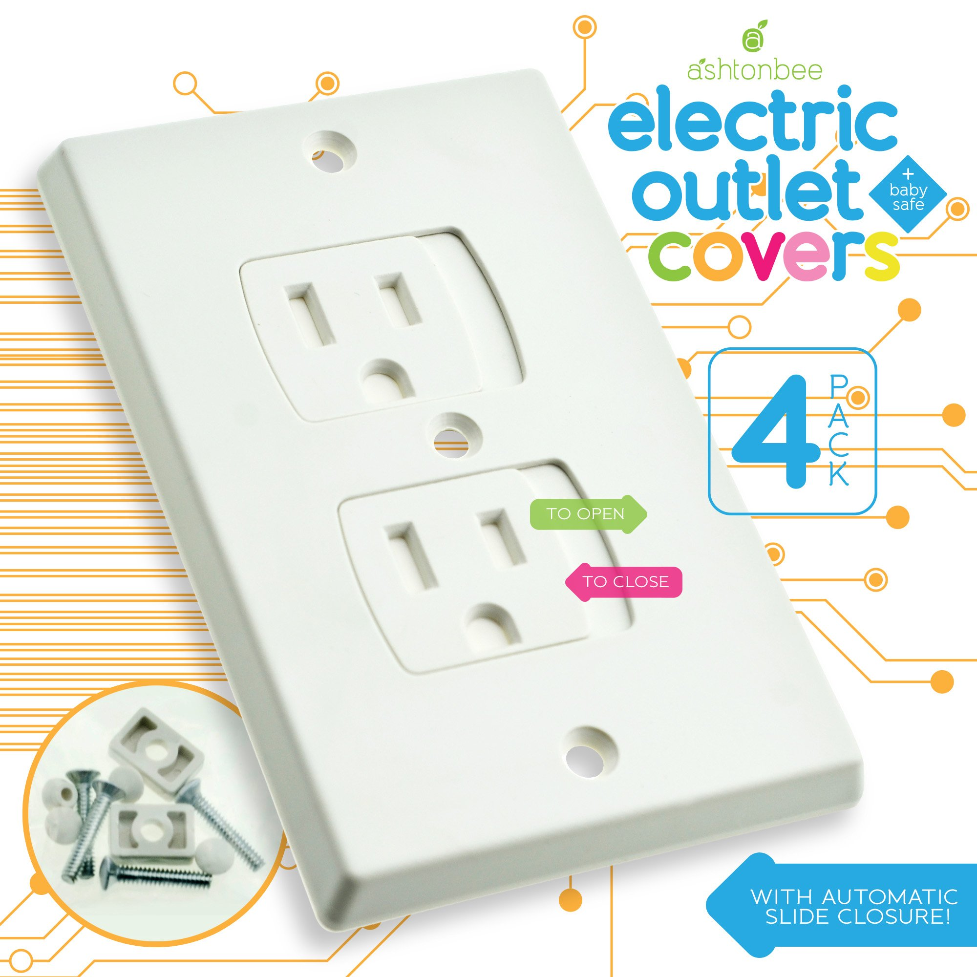 Child Safety Electrical Outlet Covers for Baby Proofing - Best Childproofing Self Closing BPA Free Wall Socket Plate, Better than Plugs (Set of 4, White)