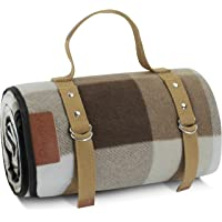 Extra Large Picnic Blanket 3 Layers for Waterproof Beach Handy Mat Brown and White Checkered Camping Mat Great for…