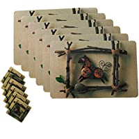 Kuber Industries Floral PVC 6 Piece Dining Table Placemat Set with Tea Coasters - Multicolour