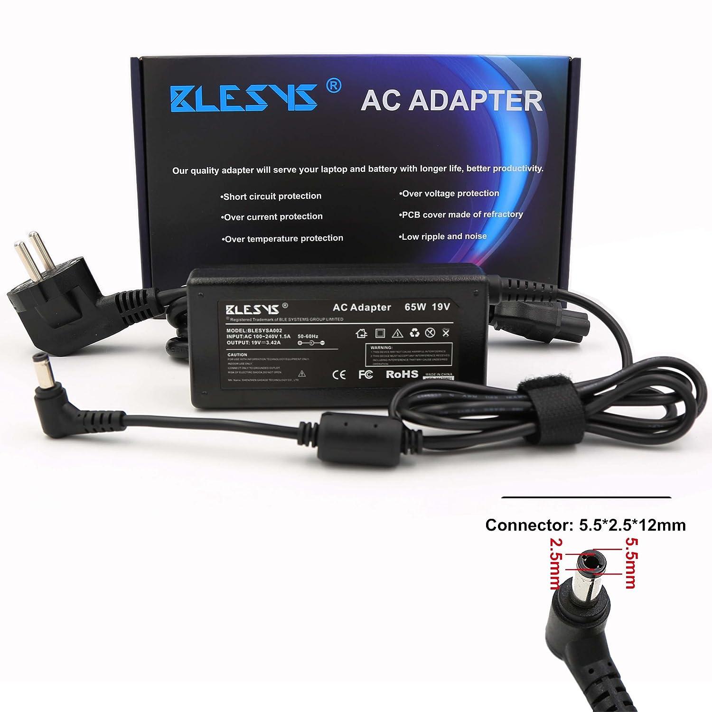 BLESYS - 65W PA-1650-21 PA3714E-1AC3 Cargador Toshiba Satellite C850 C855 L500 L510 L650 L655 T130 P755 Adaptador (5.5 x 2.5mm Conector) 19V 3.42A ...