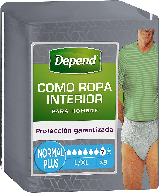 Depend como ropa interior - Absorbente para hombre, absorción normal plus, talla L/XL, 9 unidades