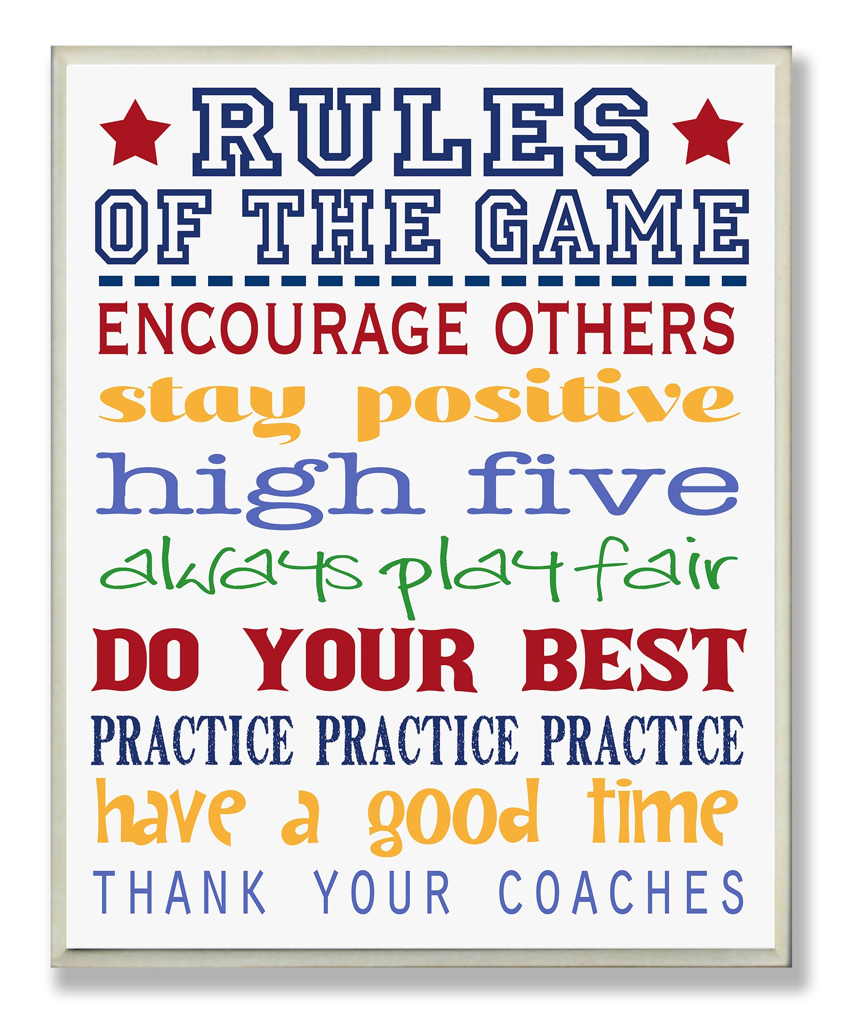 The Kids Room by Stupell Rules of The Game Blue and Red Typography Rectangle Wall Plaque by The Kids Room by Stupell