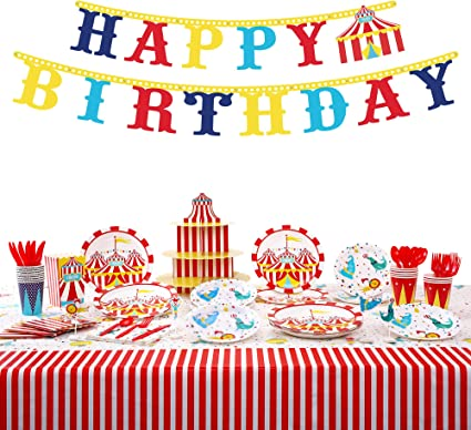 Birthdays Decorations 3 Tier Cupcake Foam Stand with Circus Carnival Tent Design for Desserts