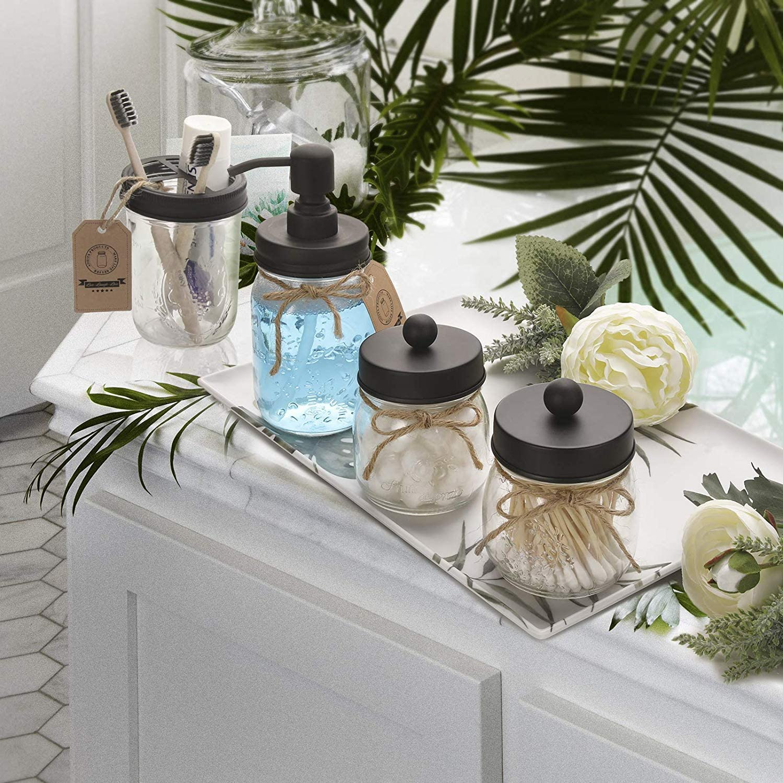 Mason Jar Bathroom Accessories Set 4 Pcs - Mason Jar Soap Dispenser & 2 Apothecary Jars & Toothbrush Holder - Rustic Farmhouse Decor, Bathroom Home Decor, Countertop Vanity Organize - Black: Home & Kitchen