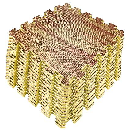 Amazon Com 16 Tiles Light Wood Grain Foam Interlocking Flooring