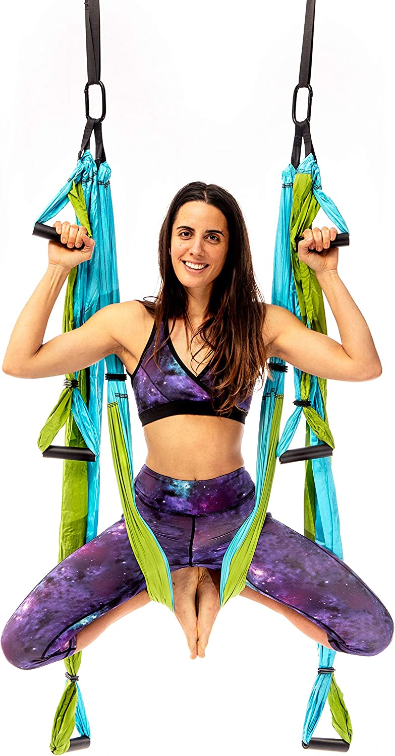 Yogabody Yoga Trapeze Pro - Yoga Inversion Swing with Free Video Series, Aqua : Sports & Outdoors