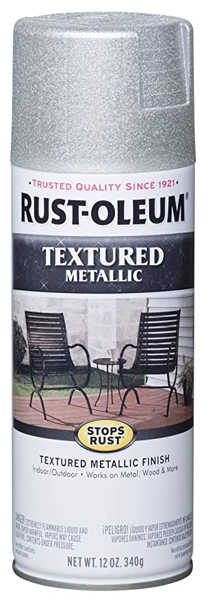 Rust Oleum 251053 12 Ounce Spray Paint Textured Silver Metallic