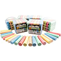 Creative Kids Outdoor Sidewalk Chalk Activity Set-120 Assorted Class Party Pack + 6 Storage Containers, Safe Nontoxic, Washable