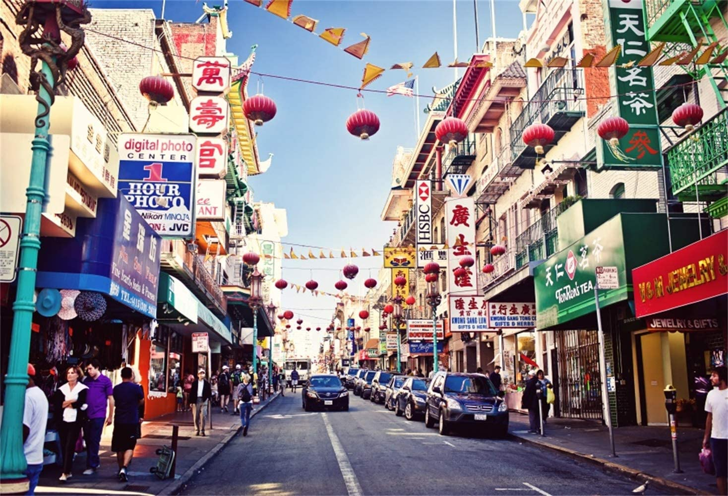 Laeacco 10x6.5ft Chinatown District Vinyl Photography Background American City Backdrop Various Chinese Style Stores Vintage Personal Portraits Film Shoot Video Studio San Francisco Streetscape