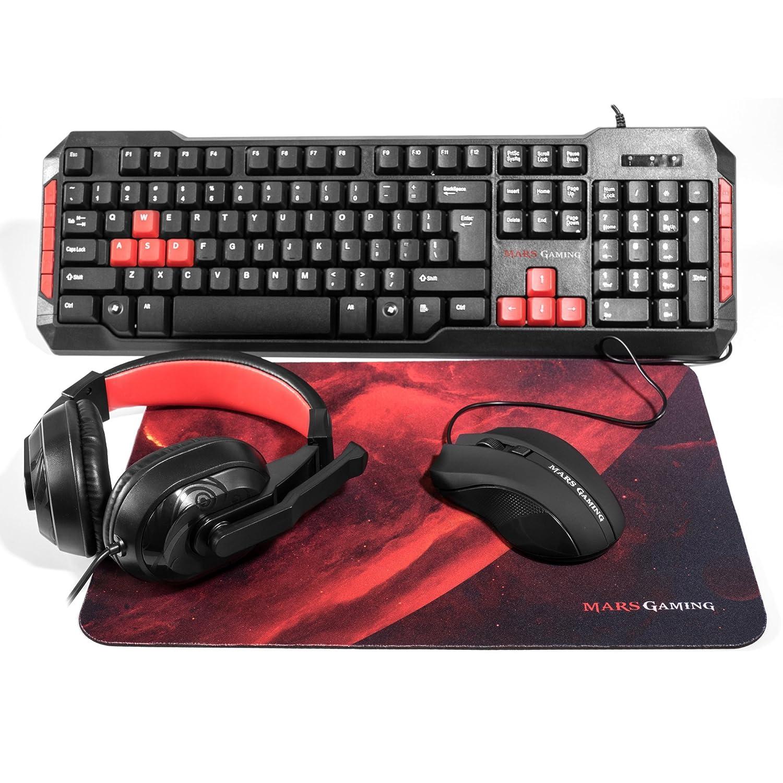 Mars Gaming MRCP1 - Combo gaming de teclado, ratón, auriculares y alfombrilla (teclado membrana, sensor óptico 2800 DPI, base de caucho y superficie de tela ...