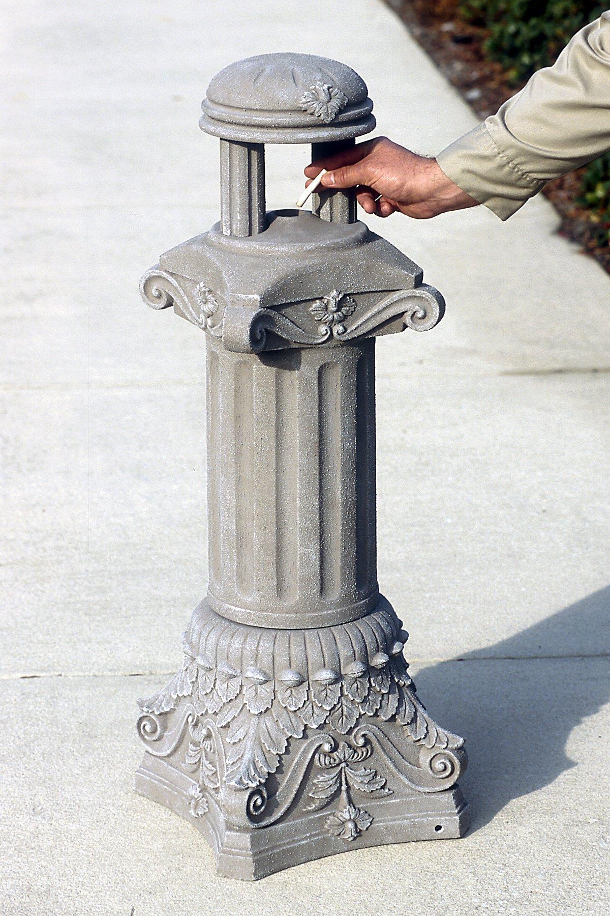 UltraTech 1554 Fiberglass Roman Column Ultra-Smoke Stop Receptacle, 13-1/2'' Length x 13-1/2'' Width x 38-1/2'' Height