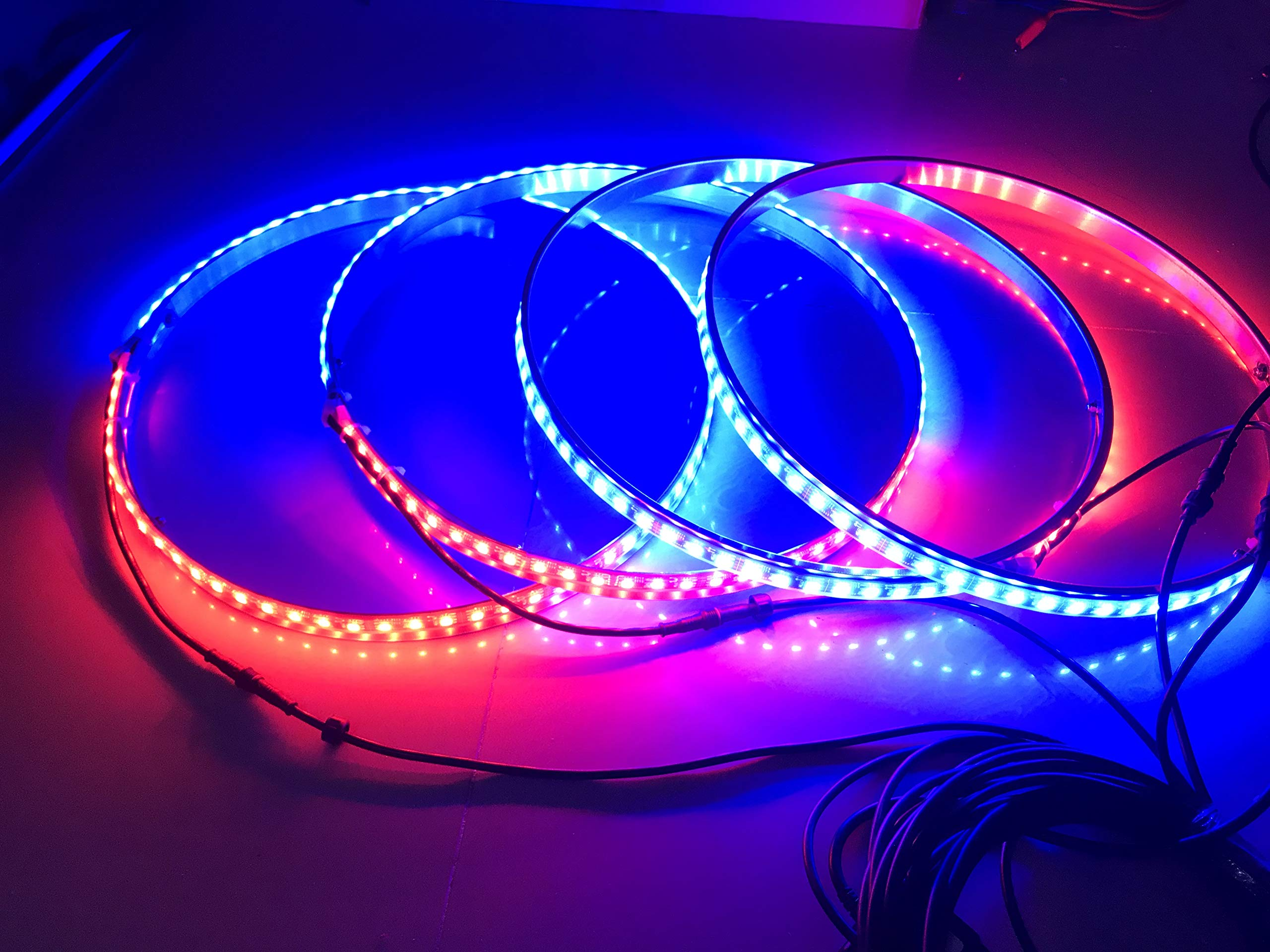Sando Tech Dream Chasing Colors Flow 15.5'' LED Wheel Ring Lights Rim Lights Tire Lights Blue-Tooth App Controlled 4 Lights