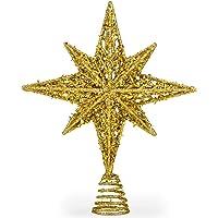 8 Inch Bethlehem Glitter Gold Star Christmas Tree Topper   Christmas Tree Toppers   Christmas Star Tree Topper   Rustic…