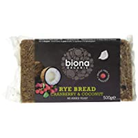 Biona Organic Rye Bread Coconut and Cranberry 500g (Pack of 6)