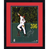"$679 » Framed Mike Trout Los Angeles Angels Autographed 16"" x 20"" Home Run Robbing Catch Photograph - Autographed MLB Photos"