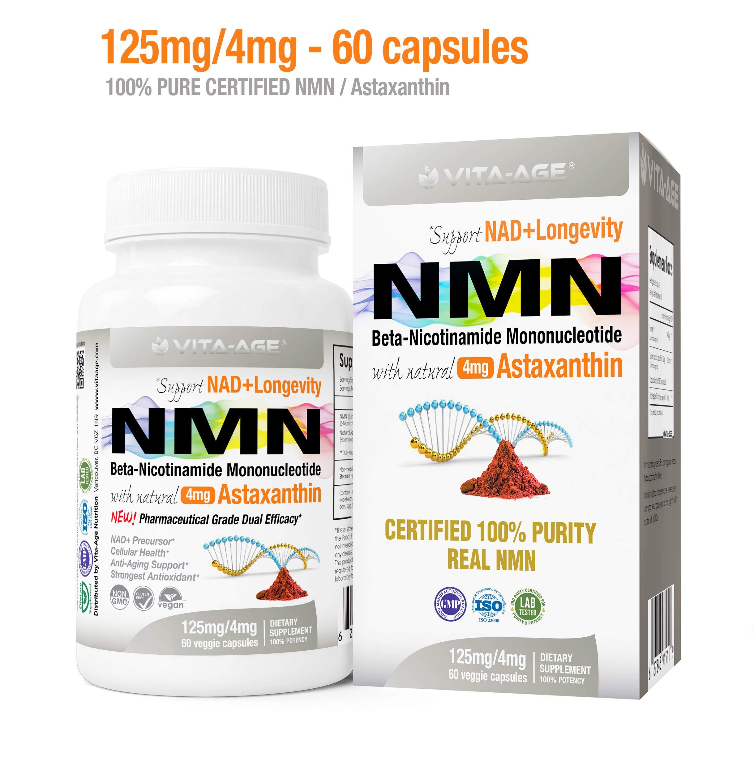 (1 x NMN 60 Capsules 125mg) Vita-Age Certified NMN β- Nicotinamide Mononucleotide + Astaxanthin - Sirtuin Activation Anti-Aging DNA-Repair Energy+ (NAD+ Antioxidants Detox Bundle)