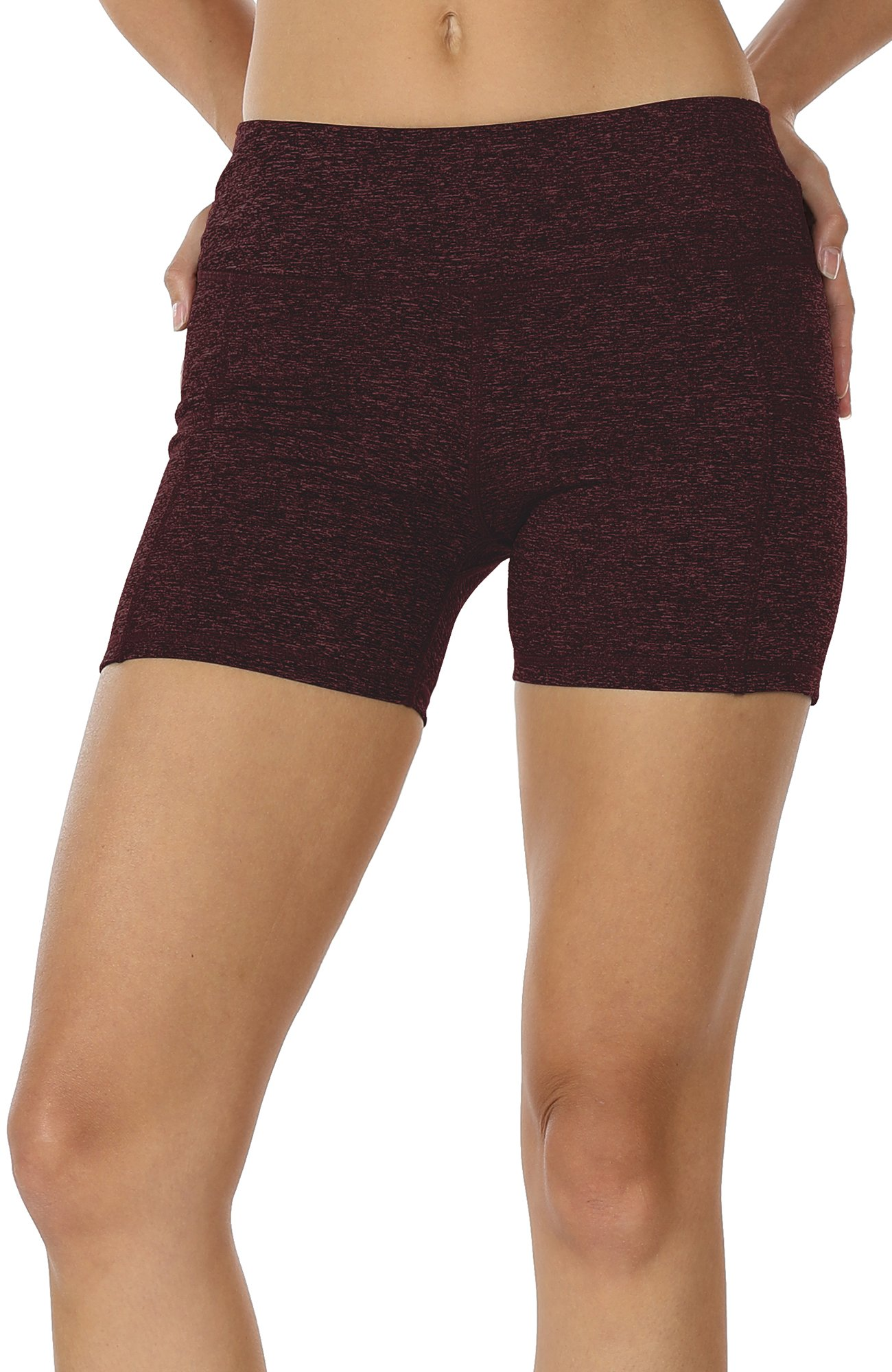 icyzone Workout Running Shorts For Women - Yoga Exercise Lounge Athletic Activewear Compression Shorts With Pockets & Drawstring (M, Wine)