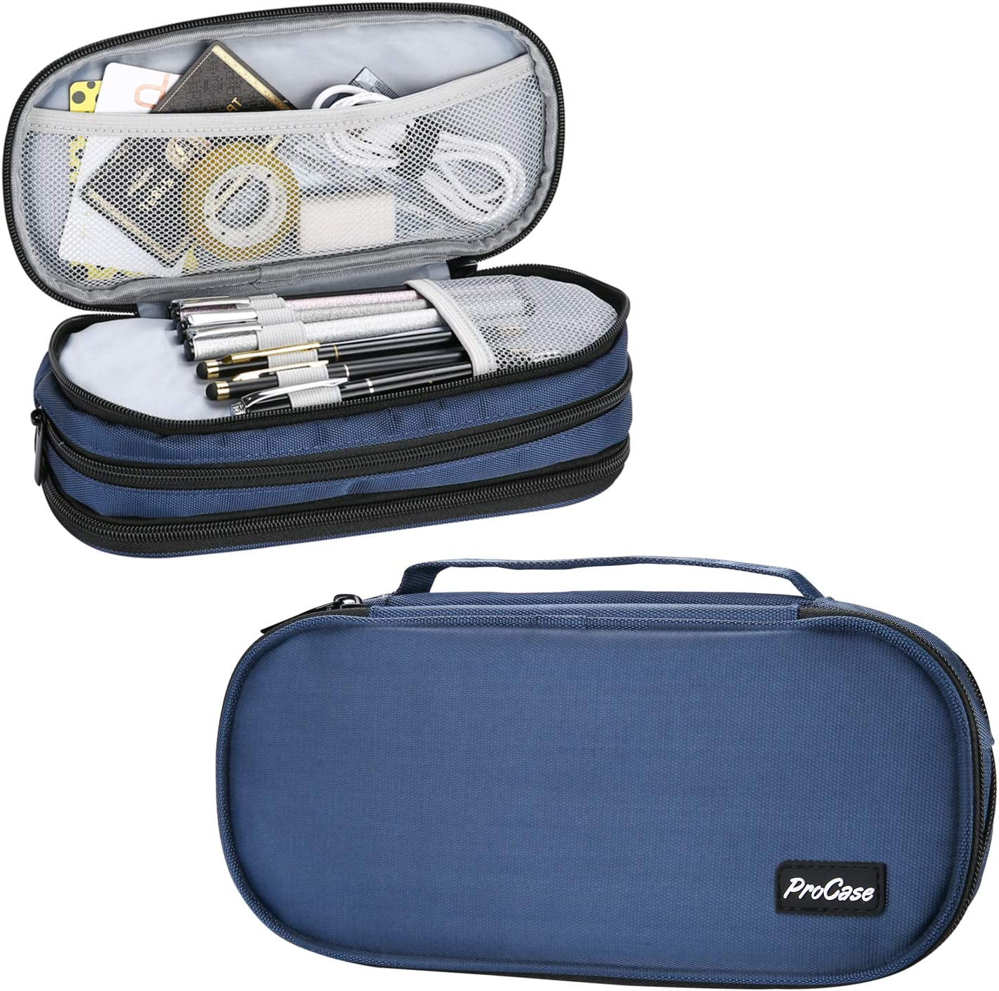 ProCase Big Capacity Pencil Case Pen Bag, Handheld Pencil Holder Pouch Pen Organizer Students Stationery Pouch with Durable Zipper Multi Compartments for School & Office Supplies –Navy