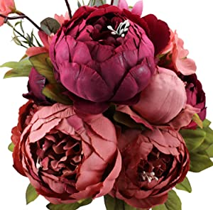 Duovlo Fake Flowers Vintage Artificial Peony Silk Flowers Wedding Home Decoration,Pack of 1 (New Red) …