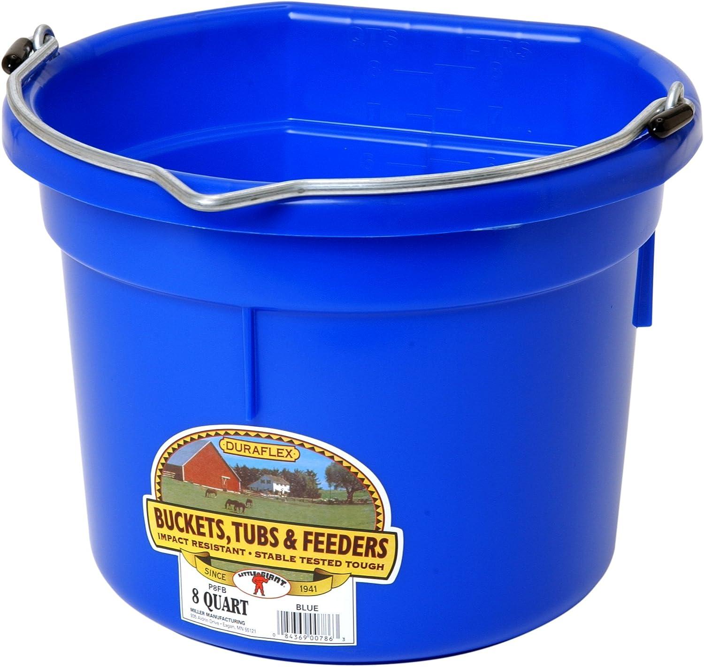 Miller Manufacturing P8FBBLUE Plastic Flat Back Bucket for Horses Blue 8-Quart