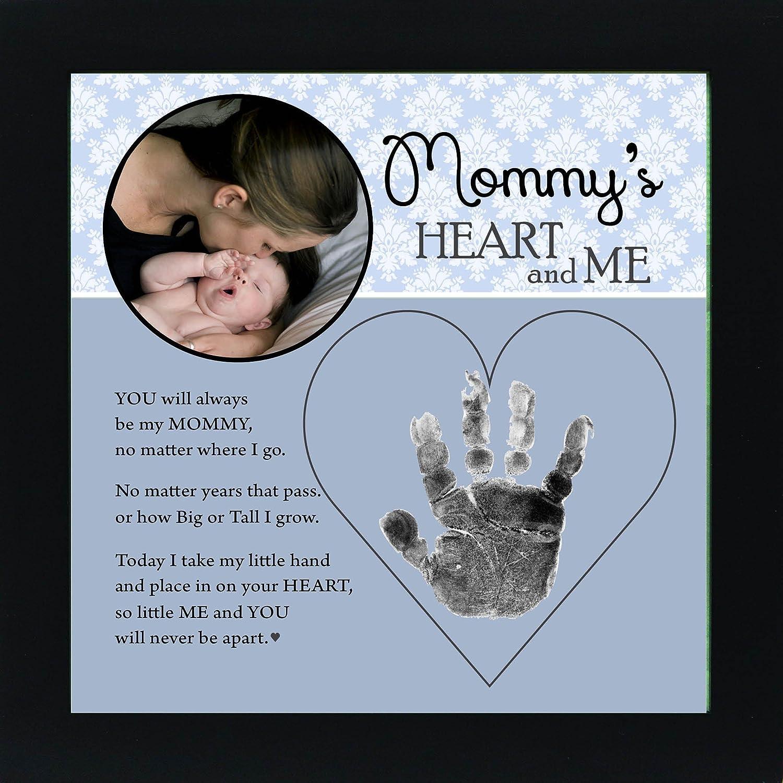 The Grandparent Gift Mom Handprint Frame: Mommy's Heart and Me, Blue, Black The Grandparent Gift Co. 4381