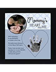 The Grandparent Gift Mom Handprint Frame: Mommy's Heart and Me, Blue, Black