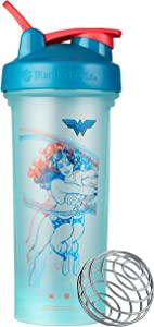 BlenderBottle Justice League Classic V2 Shaker Bottle Perfect for Protein Shakes and Pre Workout, 28-Ounce, Retro Wonder Woman