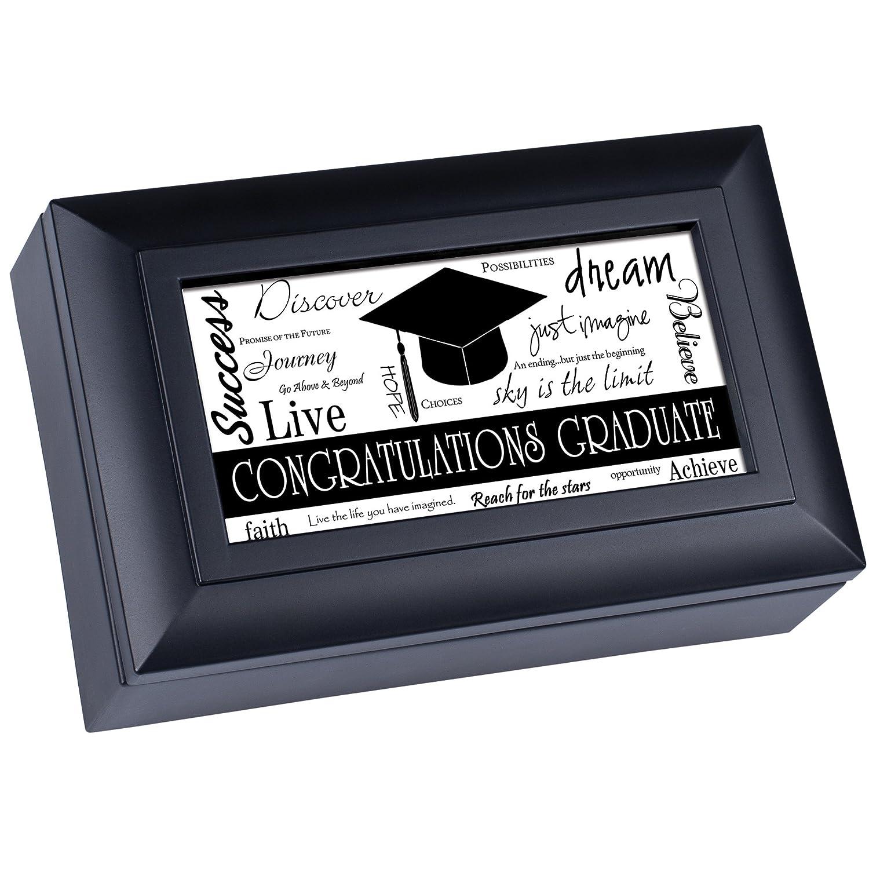 Congratulations Graduate Noir Graduation Boîte à bijoux musicale joue Wonderful World Cottage Garden SHPM15