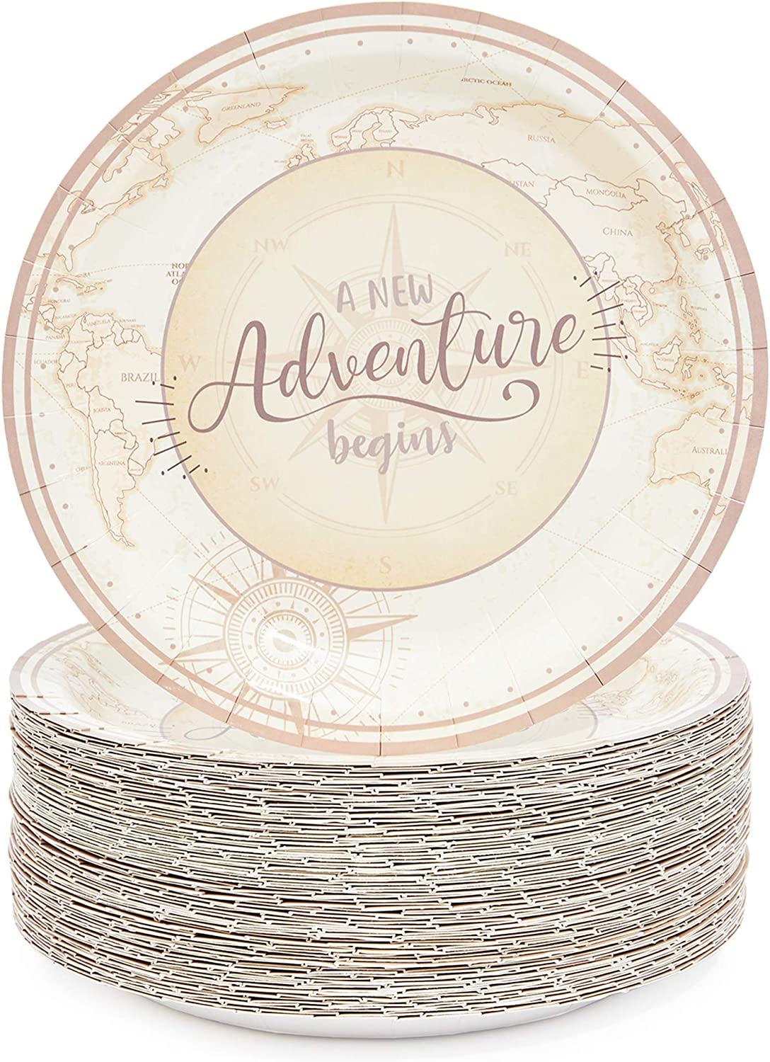 A New Adventure Begins Paper Plates for Baby Showers (9 in, 80 Pack)