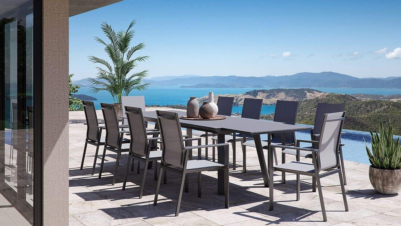 Artelia Lilo XXL - Conjunto de muebles de jardín de aluminio para 10 personas, mesa de comedor para jardín, terraza con mesa extensible, juego de muebles de jardín de aluminio antracita