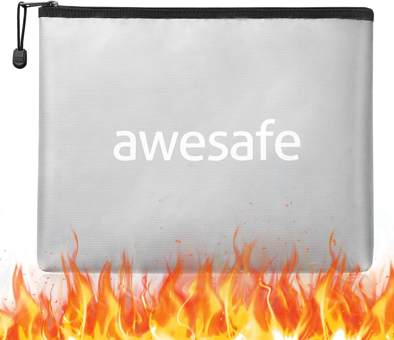 Fireproof Document Bag, Fireproof Bag 13.6'' x 10.7'' Waterproof Bag (2061℉) Fireproof Money Bag with Zipper Fire Resistant Bag Waterproof Document Holder Fireproof Bags for Cash Home Safes (Silver)