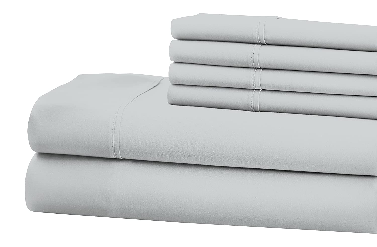 SOP-8564 Opulence 800 TC 6 Pc S.L Home Fashions Full Sheet Set Gray Inc