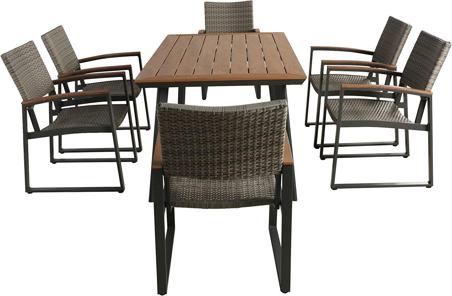 Christopher Knight Home Loren Outdoor 7 Piece Aluminum and Wicker Dining Set with Wood Top, Natural Finish and Gray