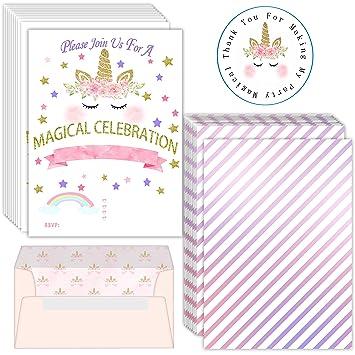 Amazon.com: Invitaciones de cumpleaños de unicornio, 32 ...